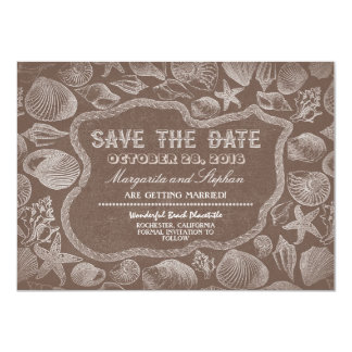 seashells brown beach wedding save the date personalized announcement