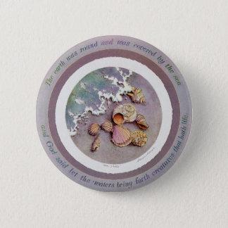 SEASHELLS by the SEASHORE by SHARON SHARPE 6 Cm Round Badge