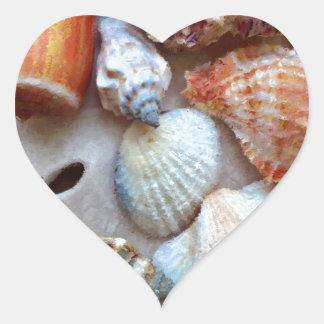 Seashells by the Seashore Heart Sticker