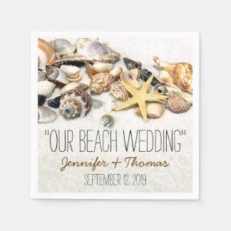 Seashells Custom Wedding Napkins Paper Napkins