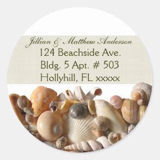Seashells Customizable Address Labels, Ribbon Classic Round Sticker