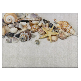 Seashells Glass Cutting Board