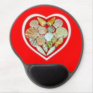 Seashells heart gel mouse mats