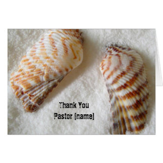 Seashells in Sand Pastor Clergy Thank You Greeting Card