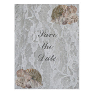 SeaShells & Lace, Save the Date Post Cards