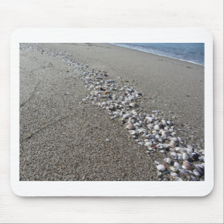 Seashells on sand. Summer beach background Mouse Pad