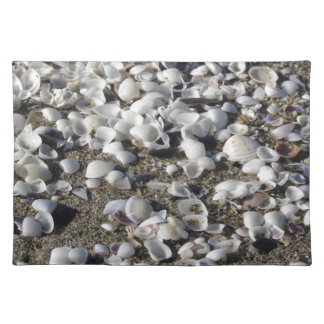 Seashells on sand. Summer beach background Placemat