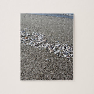 Seashells on sand Summer beach background Top view Jigsaw Puzzle