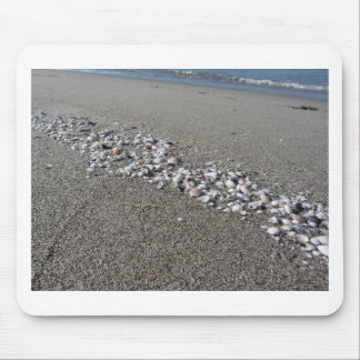 Seashells on sand Summer beach background Top view Mouse Pad