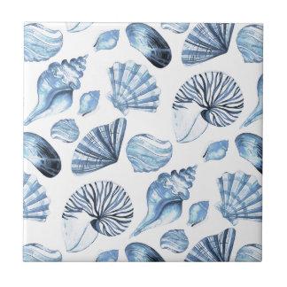 Seashells Pattern in Blue Beach House Tile