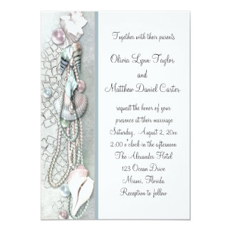 "Seashells Pearls Beach Wedding invitations 5"" X 7"" Invitation Card"