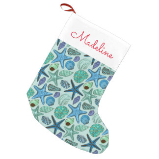 Seashells & Starfish | Add Your Name Small Christmas Stocking
