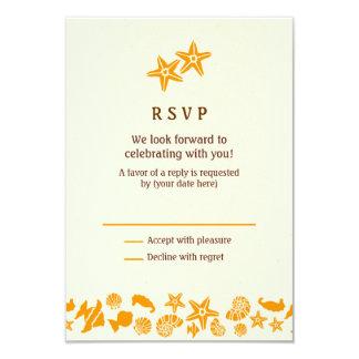 Seashells & Starfish Beach Wedding RSVP 9 Cm X 13 Cm Invitation Card