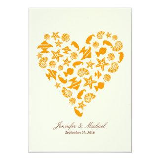 Seashells & Starfish Heart Beach Wedding 13 Cm X 18 Cm Invitation Card