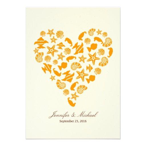 Seashells & Starfish Heart Beach Wedding Custom Invitation