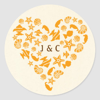 Seashells & Starfish Heart Summer Beach Wedding Classic Round Sticker