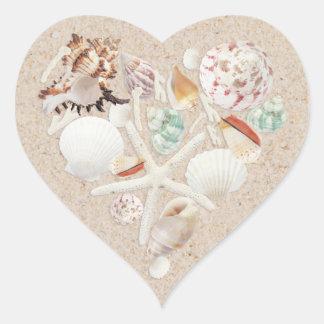 Seashells & Starfish on the Beach Wedding Heart Sticker