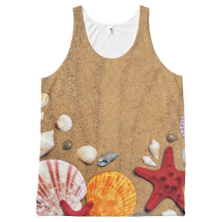 Seashells Starfish Sandy Beach All-Over Print Singlet