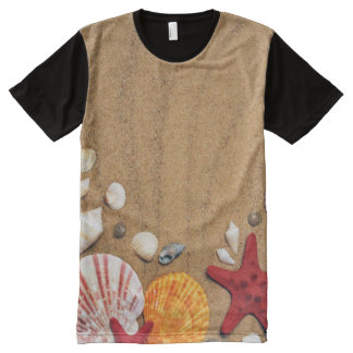 Seashells Starfish Sandy Beach Panel T-Shirt