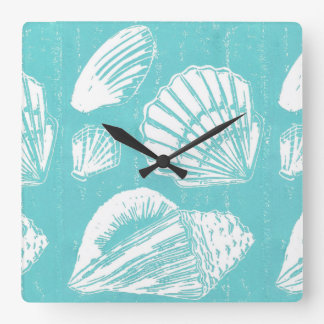 Seashells Wall Clock, Square or Round Square Wall Clock