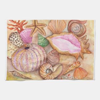 Seashells watercolor painting towel