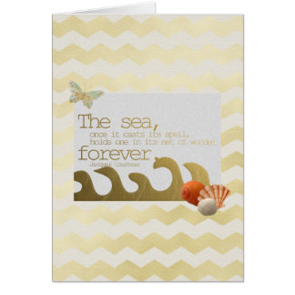 Seashells Wave & Butterfly Gold Chevron Birthday Card