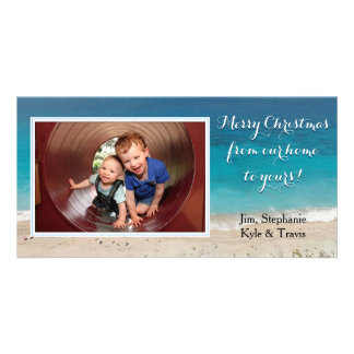 Seashore Christmas Photo Template Greeting