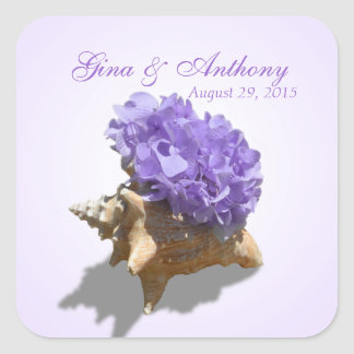 Seashore Hydrangea Purple Square Sticker