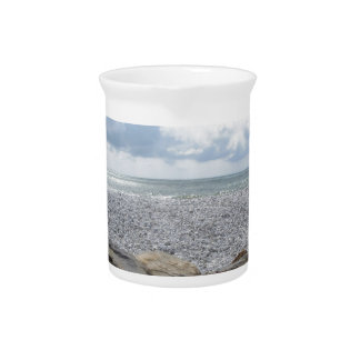 Seashore of a beach in a cloudy day at summer pitcher