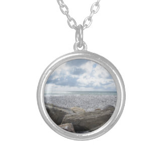 Seashore of a beach in a cloudy day at summer silver plated necklace