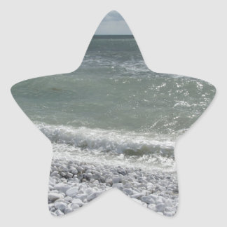 Seashore of beach in a cloudy day at summer star sticker