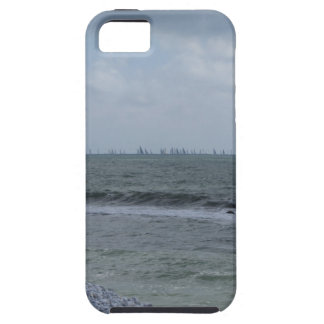 Seashore of beach with sailboats on the horizon iPhone 5 cover