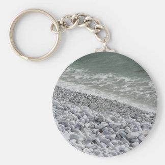 Seashore of Marina di Pisa beach in a cloudy day Basic Round Button Key Ring