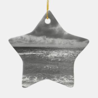 Seashore of Marina di Pisa beach in a cloudy day Ceramic Ornament