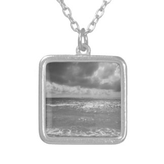 Seashore of Marina di Pisa beach in a cloudy day Silver Plated Necklace