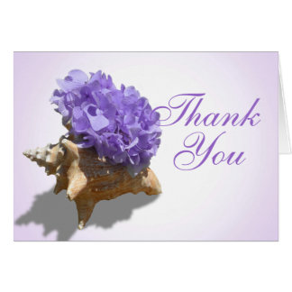 Seashore Purple Hydrangeas Thank You Card