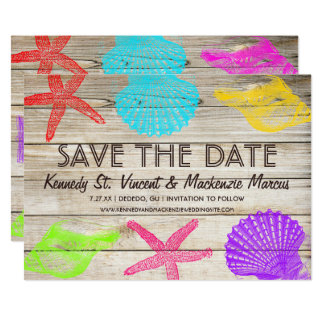 Seashore Wood Save the Date Card