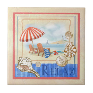 Seaside Beach Scene Art Tile