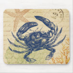 Seaside Blue Crab Collage Mouse Pad