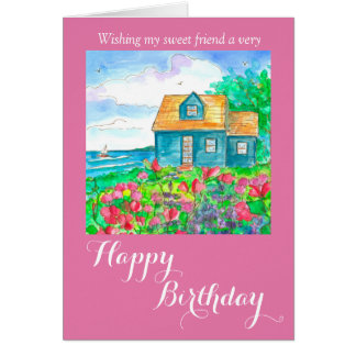 Seaside Cottage Happy Birthday Friend Card