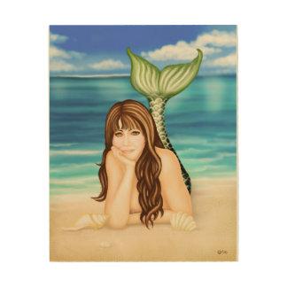 Seaside Daydreams Mermaid Fantasy Wood Wall Art Wood Print