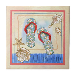 Seaside Flip Flops art Tile