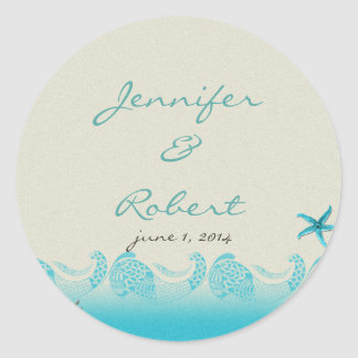 Seaside in Sand and Aqua Envelope Seal Round Sticker