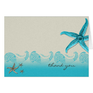 Seaside in Sand and Aqua Thank You Card