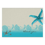 Seaside in Sand and Aqua Thank You Greeting Cards