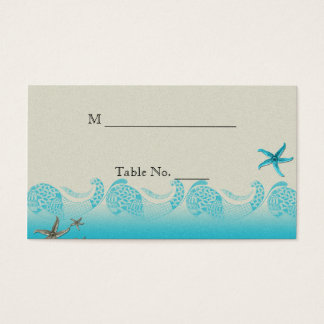 Seaside in Sand and Aqua Wedding Place Cards