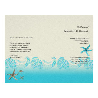 Seaside in Sand and Aqua Wedding Program 21.5 Cm X 28 Cm Flyer