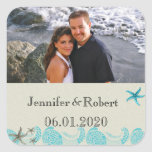 Seaside in Sand and Aqua Wedding Square Stickers