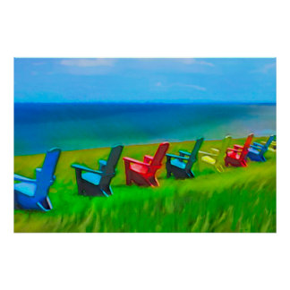Seaside Lawn Chairs Poster