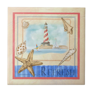 "Seaside Lighthouse ""Refresh"" Beach Tile"
